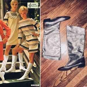 Vintage Silver Knee Boots